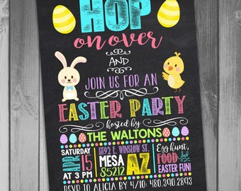Easter Party Invitation Easter Invitation Easter Egg Hunt Invitation Easter Invite Printable Easter Invitation Chalkboard Invitation