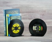 Record bookends, YOU chose music artist, or Johnny Cash Patsy Cline, Unique bookend, Wife birthday gift, 50s decor 1950s 1960s collectible