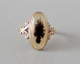Antique Agate Ring. 10k Gold. Edwardian. Topiary Potted Tree. Size 7.25