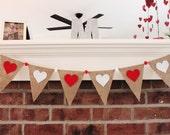 Valentines Day Decor - Valentine Banner - Heart Banner - Valentine Photo Prop - Valentine Garland - Bunting - Wedding Banner - Burlap Banner