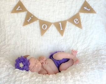 Newborn Photo Prop - Name Banner - Newborn Banner - Newborn Name Banner - Mini Name Banner - Hospital Bassinet Name Banner - Newborn Photos