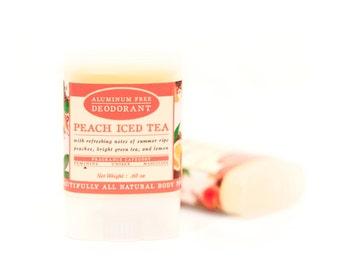 Peach Iced Tea Travel Size Deodorant - All Natural & Aluminum Free Deodorant - Ripe Peach, Sparkling Tea, Fresh Lemon