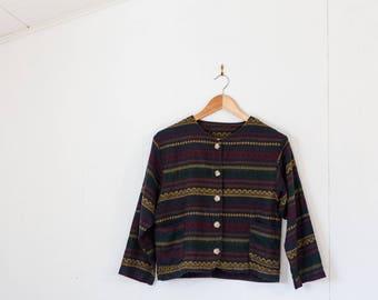Women's acrylic vintage sweater / girls / indie / medium / cardigan / button up / small