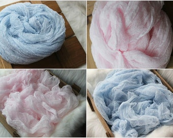 SALE newborn photography prop,baby photo prop, very soft pink blue cheese cloth, basket filler, basket fluff, over 7 ft long