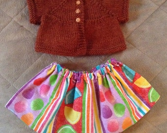 Sweater and skirt for the American Girl doll.