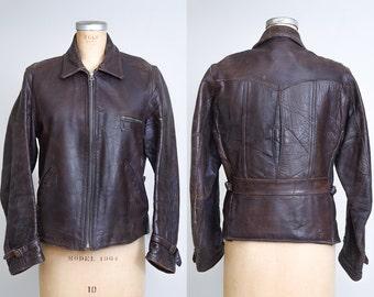 1930s Motorcycle Horsehide Jacket Ball & Chain Zip Pleated Back Sportwear Coat
