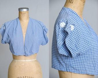1950s Plaid Bolero Jacket Blue Plaid with Large Button Detail Crop Jacket