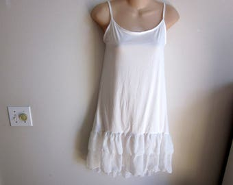Camisole cami slip extender white ruffle hem dress sexy lingerie M L