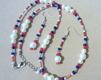 Seed Bead Necklace Set, Patriotic Pearl & Glass Bead Jewelry Set, USA Red White Blue Pendant Set, Retro Jewelry Set, Handmade Beaded Jewelry