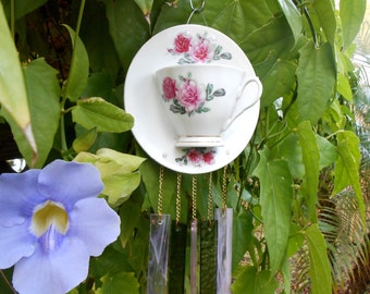 Vintage Tea Cup and Saucer Wind Chime, Stained Glass Garden Art, Pink Rose Teacup Windhime, Glass Yard Art, Garden Decor, OOAK Gift for Her