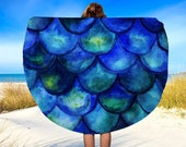 "Mermaid Round Beach Towel, Mermaid Tail, Mermaid, Circle Towel, Mermaid Decor, Beach Blanket, Towel, Yoga Blanket, 60"", Picnic blanket"