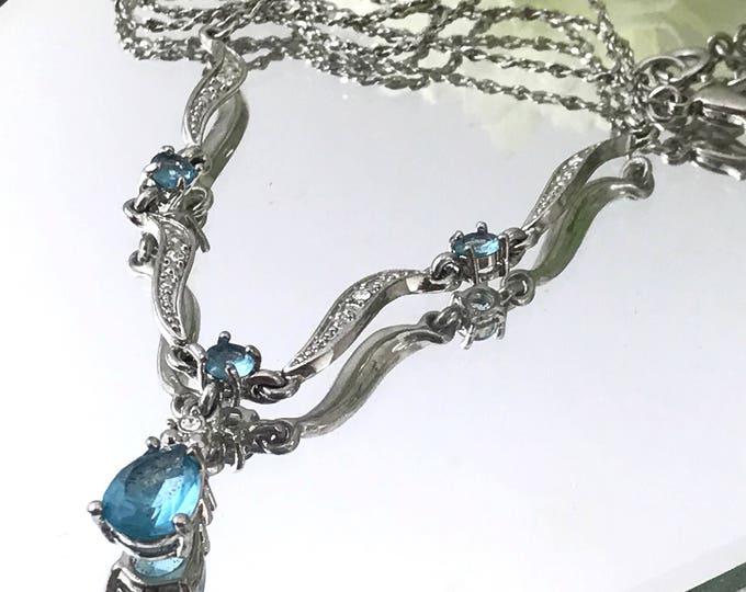 Avon Nina Ricci Aquamarine Glass Necklace Blue Glass Crystal Rhinestone Avon Necklace NR Avon Rhinestone Necklace. Avon Rhinestone Jewelry