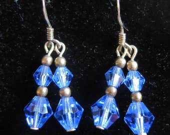 Vintage sterling silver sparkling blue crystal bead drop dangle earrings (5574)
