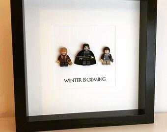 Game of Thrones Lego minifigure Frame. Alternative birthday Arya Stark, Tyrion Lannister, Jon Snow.