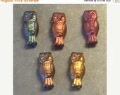 ON SALE Czech Owl Bead 15mm X 7mm Metallic Mix 1 Strand