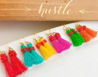 Tassel Earrings, Bold tassel earrings, Bright tassel Earrings, Colorful tassel earrings, Gold Tassel Earrings, Bohemian Earrings