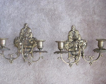 Vintage Ornate Pair of 2 Candle Holders Brass Wall Sconces Hollywood Regency