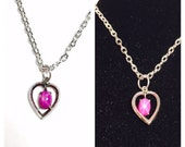 Vintage star Ruby & silver Heart Pendant/Necklace, Clearance SALE, Item No. S001