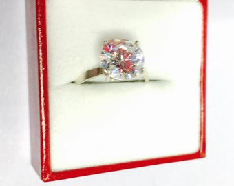 Vintage Solitaire Silver Ring Size 7.5, stamped .925, Clear C Z, Large Round Stone, Clearance S A L E, Item No. S194