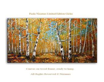 Wall Art Birch Forest - Abstract Art Giclee on canvas home interior Decor Paula Nizamas Ready to hang