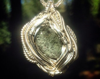Green godess mine chlorite quartz wire wrapped pendant | .925 sterling silver | chain included | handmade by Jon Hixson