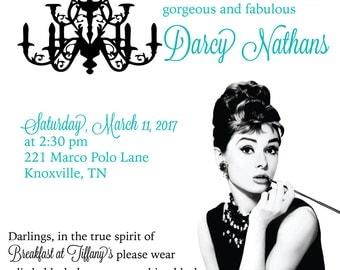 Breakfast at Tiffany's Bridal Shower Theme, Audrey Hepburn inspired invitations, Tiffany Blue Bridal Shower, Tiffany's Bridal Shower Theme