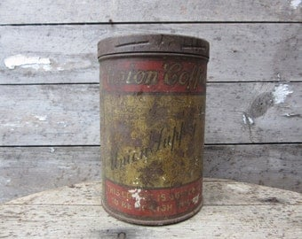 Vintage Tin Coffee Can UNION Supply Aged Distressed Early 1900s Metal Tin Storage Antique Farm Retro Kitchen Rustic Primitive Vtg Old