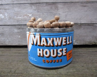 Vintage Metal Coffee Can 1950s Era Blue Maxwell House Tin filled with Old Wood Clothes Pins Laundry Room Primitive Decor Farm House Antique