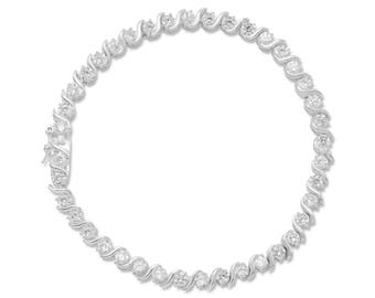 "Bridal Sterling Silver 7"" 3mm CZ Cubic Zirconia with Twist Tennis Bracelet"