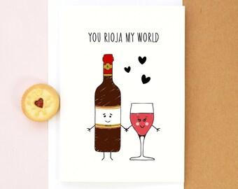 Wine Valentine's Card, Birthday Card, Wine, Rioja, Anniversary Card, Boyfriend Card, Girlfriend Card, Valentines Day, Valentine, Love Card