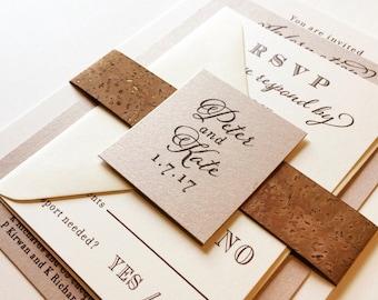 Vineyard Cork Wedding Invitation with Neutral Metallic Colors