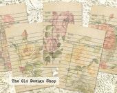 Vintage Style Library Cards Beige Background Floral Rose Designs Printable Digital Collage Sheet JPG