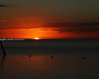 Orange Red Sunset Beach Photo, Ocean Photography, Dark Sunset Sea Picture, Tropical Coastal House Decor, Nautical Home Decor Wall Art