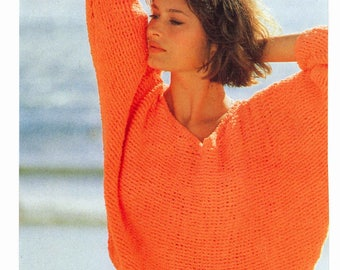 1980s Batwing Sleeve Crochet Sweater Pullover PATTERN, Crochet PDF Pattern, Crochet Instant Download