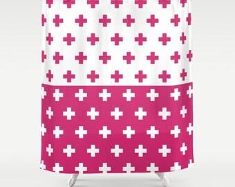36 colours, Swiss Cross Half Half YIN YANG Pattern Shower Curtain, plus sign pattern bathroom shower curtain, Raspberry pink, bathroom decor