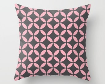 36 colours, Geometric Circles Pillow, Candy Pink pillow case, Mid Century Modern Cushion cover, Faux Down Insert, Indoor or Outdoor cover