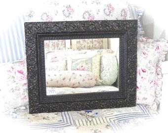 SUMMER SALE Shabby Ornate Black Velvet Rectangular Ornate Fancy Unique Baroque Florentine Wall Mirror Romantic Cottage Chic