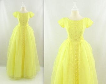 ON SALE Lemon Drop 1950s Prom Dress - Vintage 50s Long Tulle Party Dress in Yellow w/ Bustle & Bow - xSmall|LD