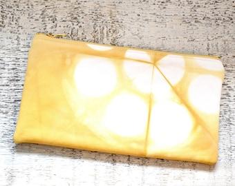 Shibori Pouch - Yellow Clutch - Goldenrod