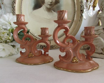 Vintage French gorgeous pair of candle holders.