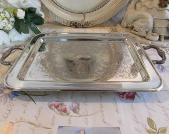 Superb antique, vintage French silver plate very ornate tray.  Paris apartment, cottage chic