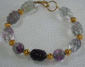 CLEARANCE Sale Super Price for Rainbow Fluorite Bracelet for Average Wrist Greens and Purples A Grade Gemstones Pretty Twisted Barrels