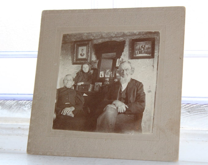 Antique Cabinet Card Photograph Victorian Family In The Parlor 1800s