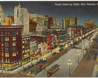 Linen Postcard, New Orleans, Louisiana, Canal Street at Night, ca 1945
