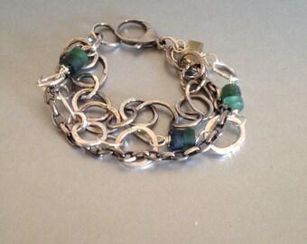 Multi Strand Silver Bracelet with Roman Glass Beads