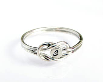 Love Knot Ring, Sailor Knot Ring, Sterling Silver Knot Ring, Custom Intial Ring
