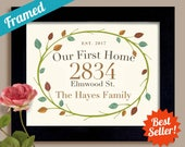 New House Housewarming Gift Wedding Gift Our First Home Framed Personalized Art Print Street Address Realtor Welcome Gift Newlyweds Gift