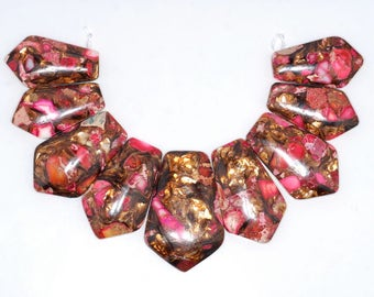 45x30-35x30mm Copper Bronze Imperial Jasper Pink Gemstone Point Graduated Set 9 Beads (80003051-75)