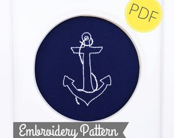 PDF Embroidery Pattern - Anchor Embroidery Pattern - digital download - anchor download - hand embroidery pattern - DIY needlecraft