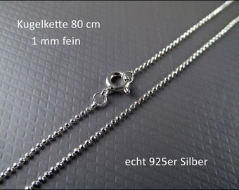Very fine 925 silver necklace - ball chain 80cm HK925-05